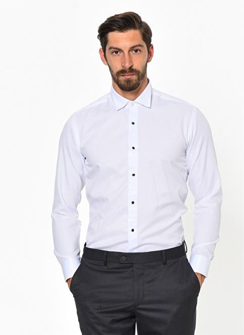 Comienzo Uzun Kollu Klasik Gömlek Beyaz